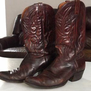 J Chisholm Cowboy Boots Size 9 Men's Brown Leather
